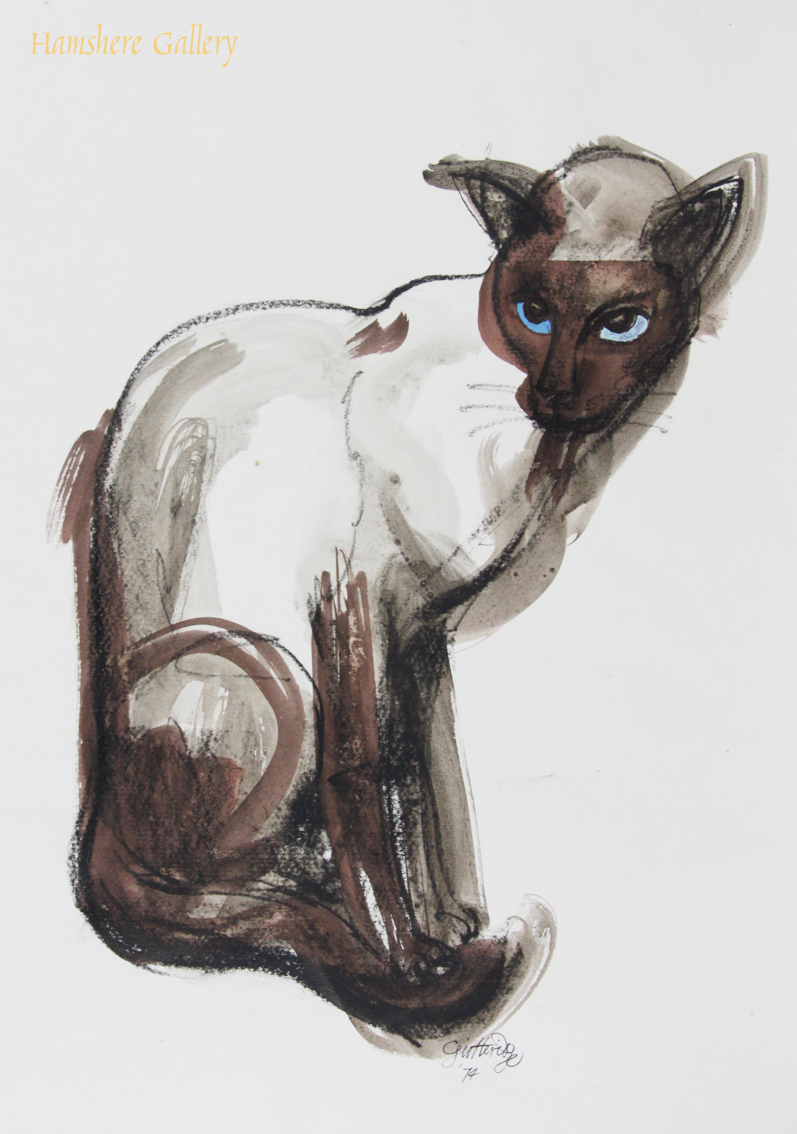 Click to see full size: Water wash over charcoal, with watercolour detail of a Siamese cat by Thomas Gordon Lindsay Gutteridge (English, 1923-1907)