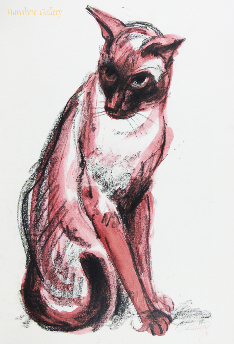 Click to see full size: Water wash over charcoal of a seated Siamese cat, a favourite subject of the author and artist Thomas Gordon Lindsay Gutteridge (English, 1923-1907) . Unsigned. English circa 1974.- Water wash over charcoal of a seated Siamese cat, a favourite subject of the author and artist Thomas Gordon Lindsay Gutteridge (English, 1923-1907) . Unsigned. English circa 1974.<br />