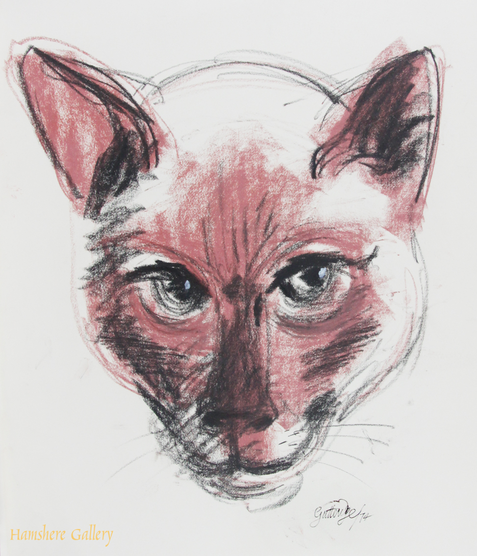 Click to see full size:    Red crayon over charcoal of a head study of a Siamese cat by Thomas Gordon Lindsay Gutteridge (English, 1923-1907)