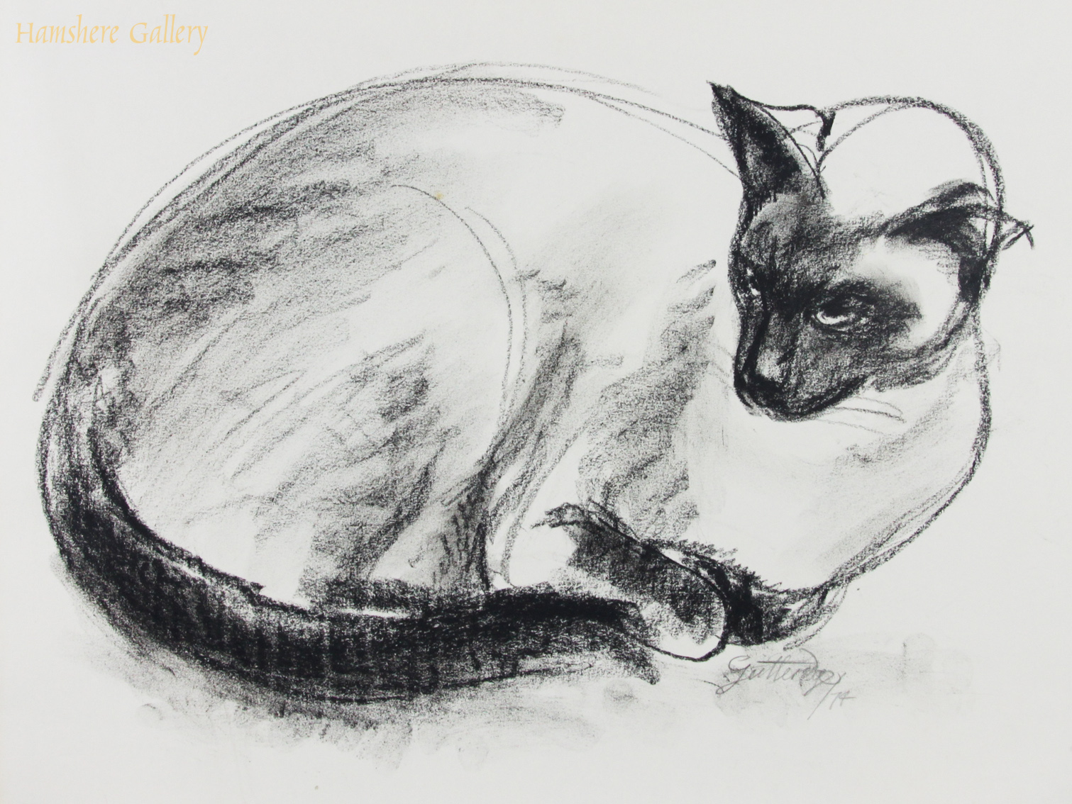 Click to see full size: Charcoal study of a recumbent Siamese cat by Thomas Gordon Lindsay Gutteridge (English, 1923-1907)- Charcoal study of a recumbent Siamese cat by Thomas Gordon Lindsay Gutteridge (English, 1923-1907)