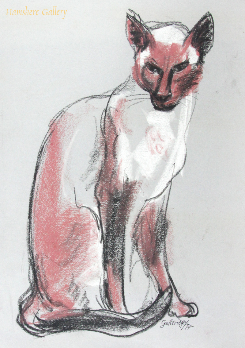 Click to see full size: Red crayon over charcoal of a seated Siamese cat by Thomas Gordon Lindsay Gutteridge (English, 1923-1907)