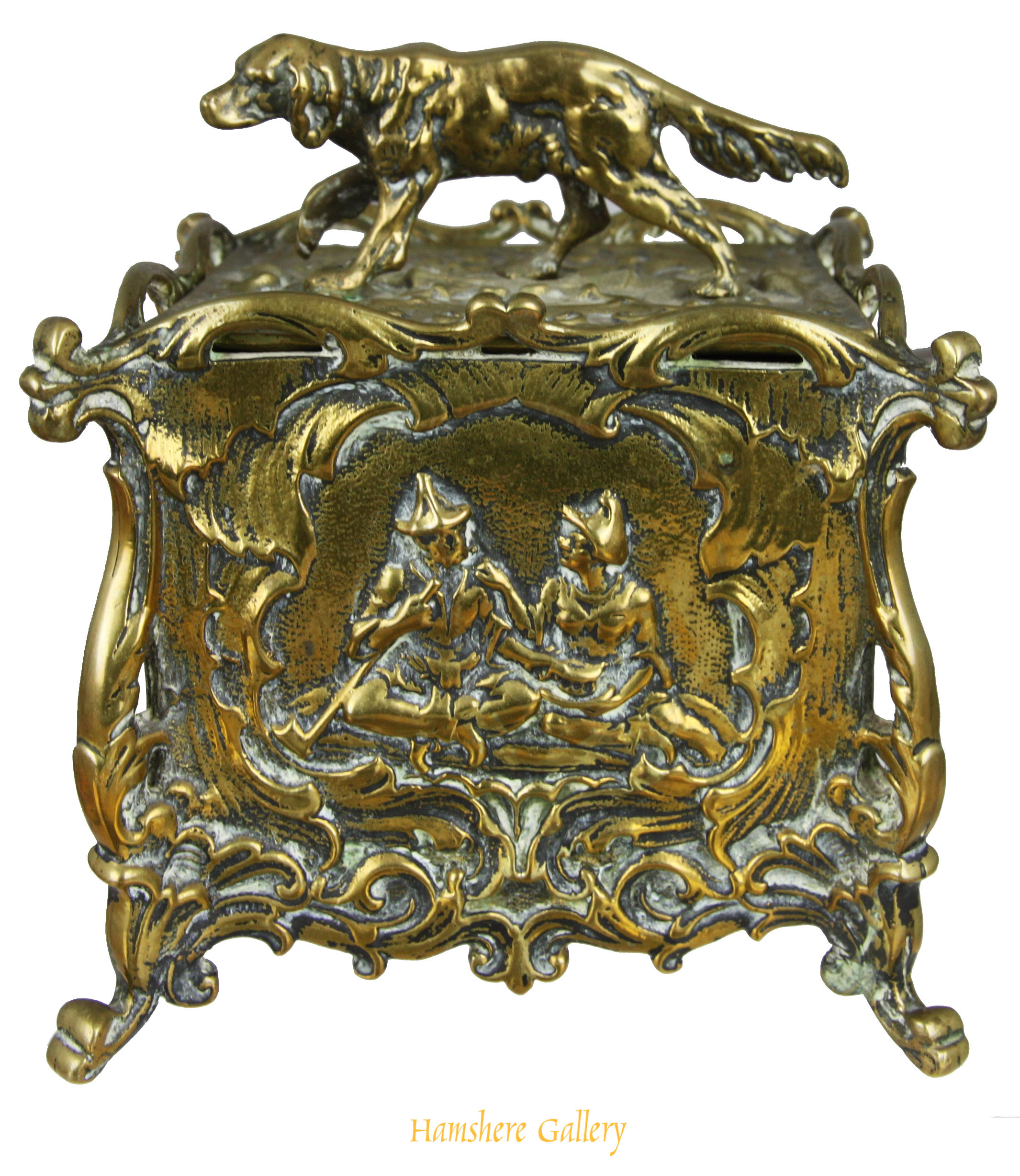 Click to see full size:    19th century Rococo bronze tea caddy / canister with Setter finial