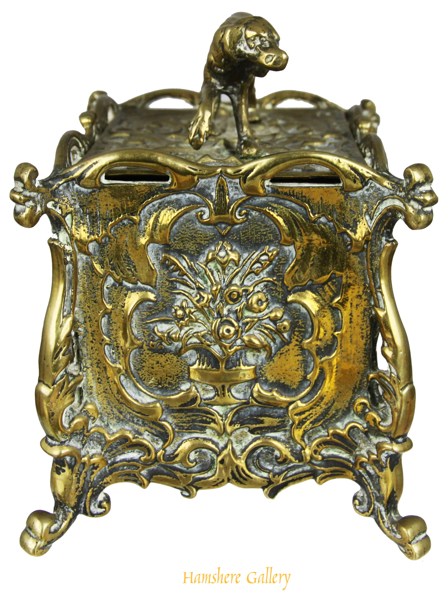Click to see full size:    19th century Rococo bronze tea caddy / canister with Setter finial- <br />  <br /> 19th century Rococo bronze tea caddy / canister with Setter finial