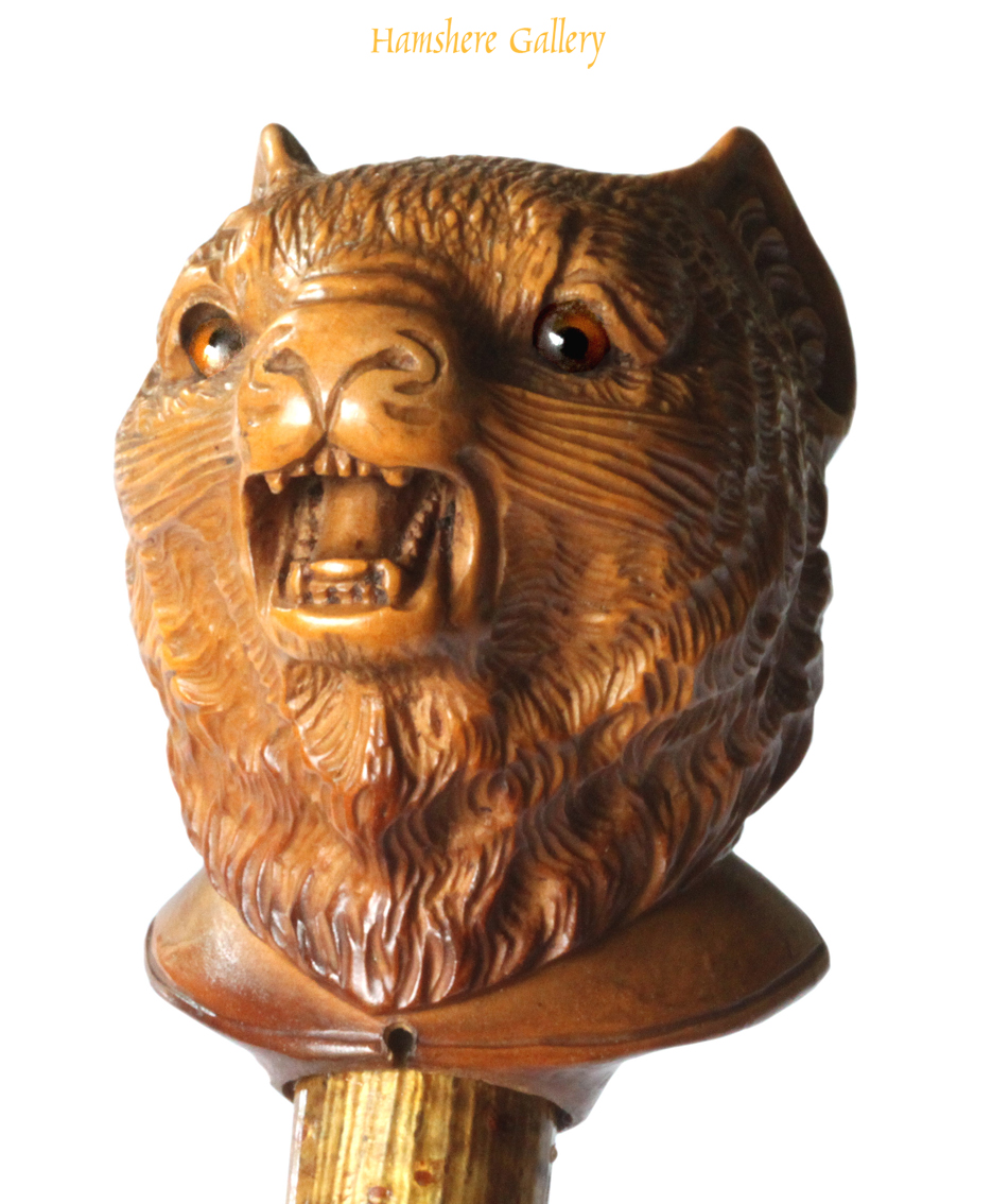 Click to see full size: A circa 1900 boxwood cat cane
