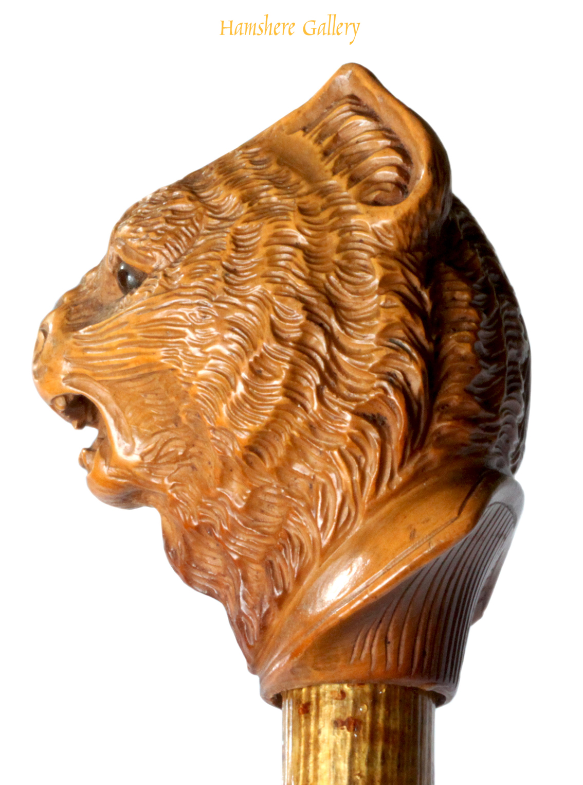 Click to see full size: A circa 1900 boxwood cat cane.- A circa 1900 boxwood cat cane.