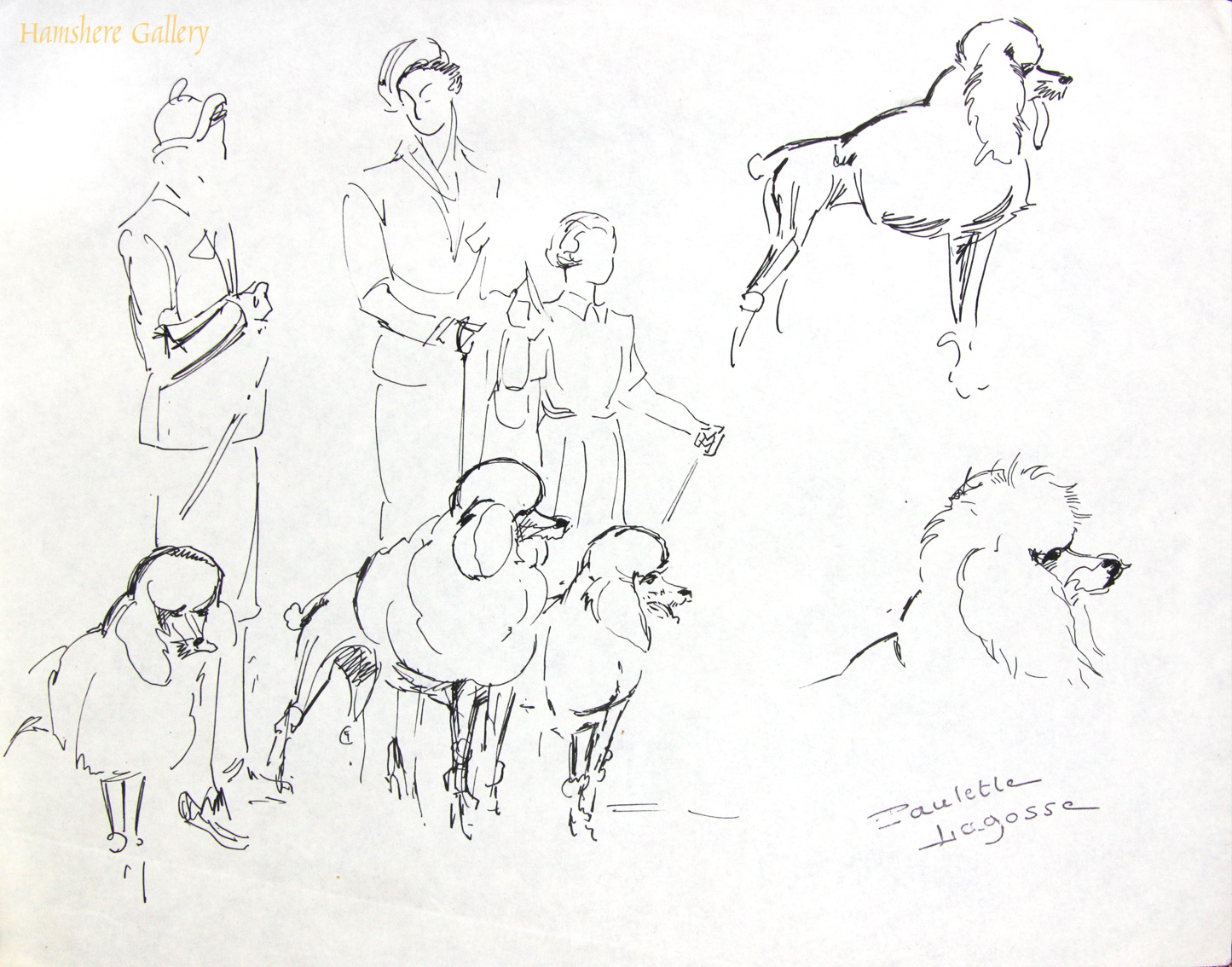Click to see full size: Pen and ink with watercolour Poodle drawings by Marie-Paulette Lagosse (French, 1921-1996)