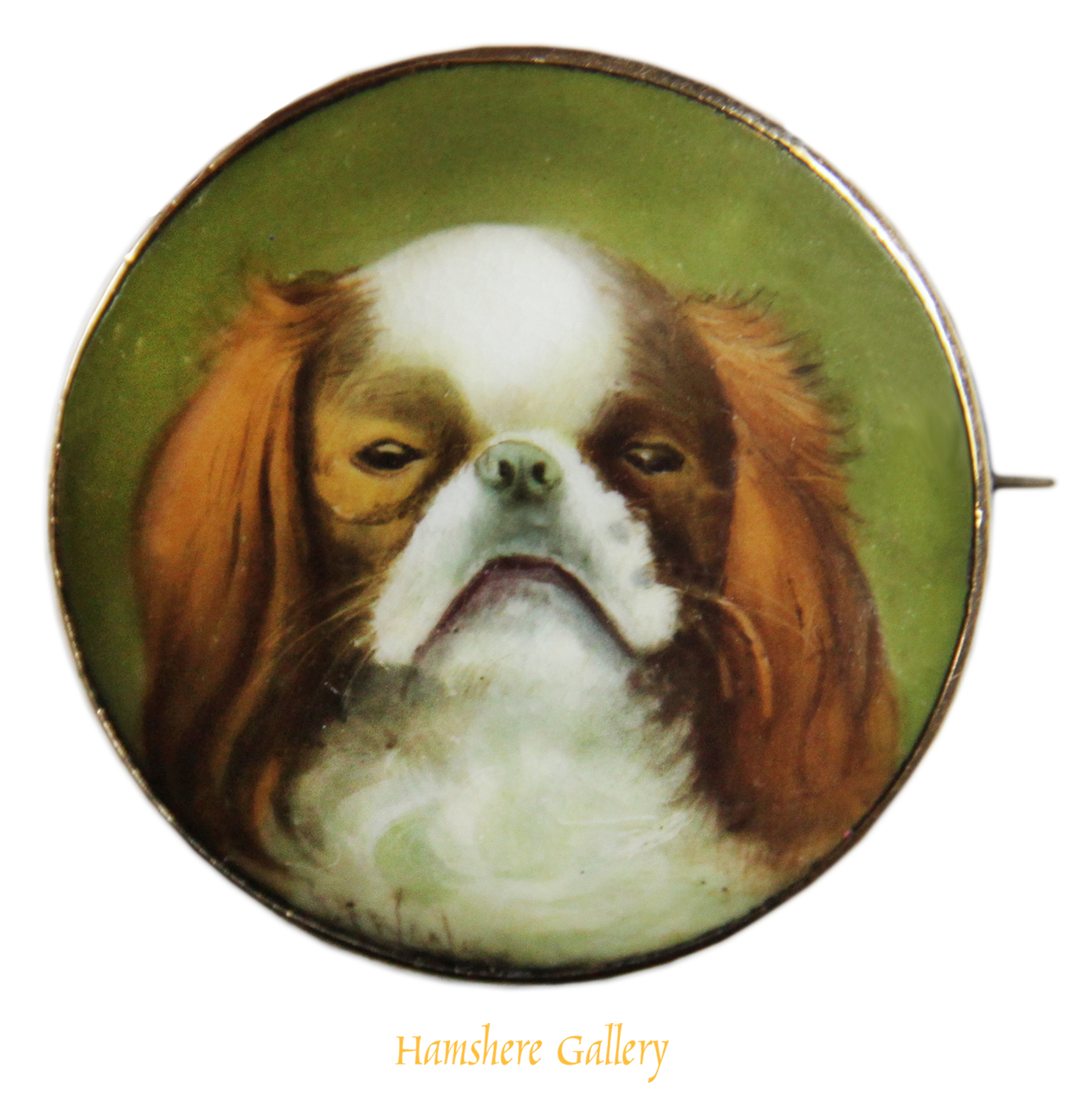 Click for larger image: A Victorian gold enamel brooch / of an English Toy Spaniel / King Charles Spaniel  - A Victorian gold enamel brooch / of an English Toy Spaniel / King Charles Spaniel