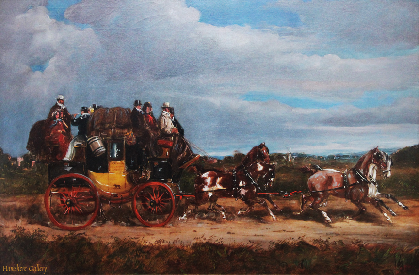Click for larger image: Royal Mail coaching oil �Portsmouth to London� by H. F Jones (English, op, 1860�1870)  - Royal Mail coaching oil �Portsmouth to London� by H. F Jones (English, op, 1860�1870)