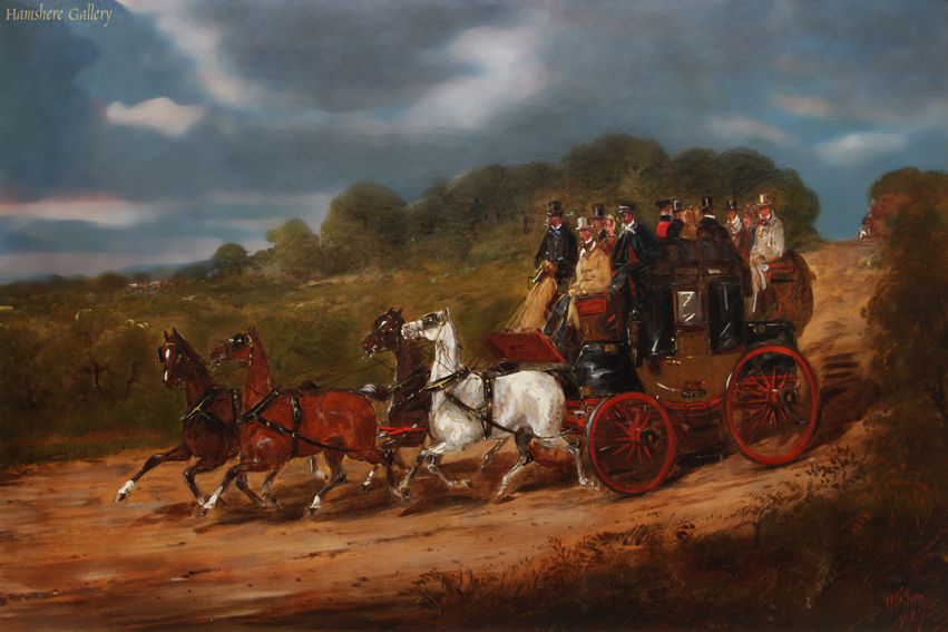 Click to see full size: Royal Mail coaching oil by H. F Jones (English, op, 1860�1870)