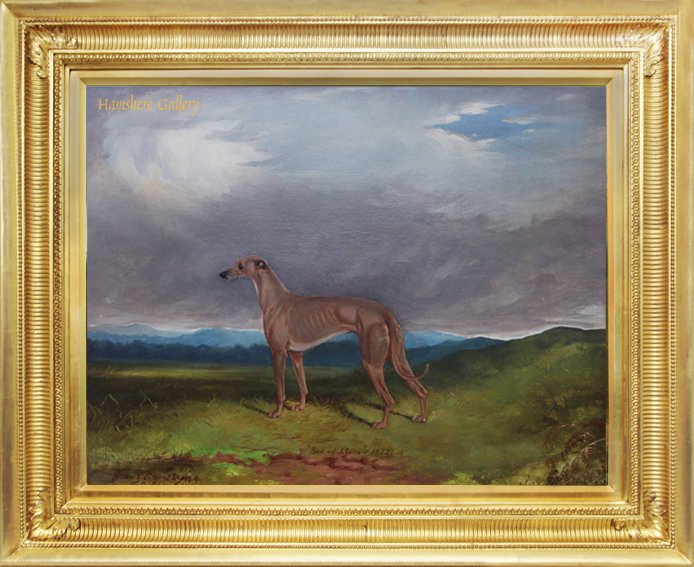 Click for larger image: Oil on canvas of the celebrated Greyhound  - Oil on canvas of the celebrated Greyhound