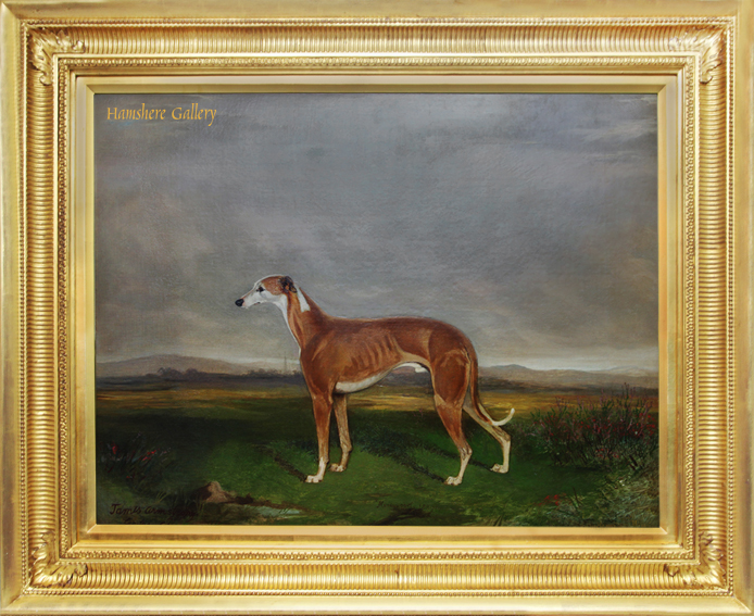 Click for larger image: Oil on canvas of the celebrated Greyhound
