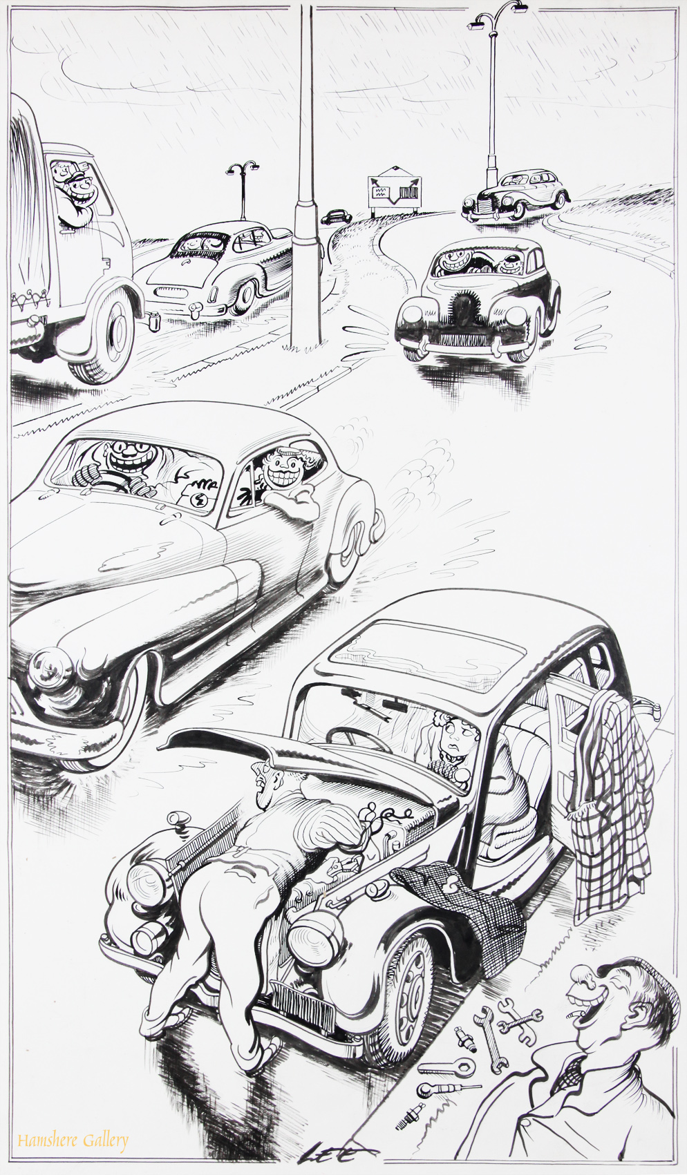 Click to see full size:    A 1950�s Motoring / automobile / Monte Carlo Rally pen and ink cartoon drawing by Joseph (Joe) Lee (English, 1919-1975).