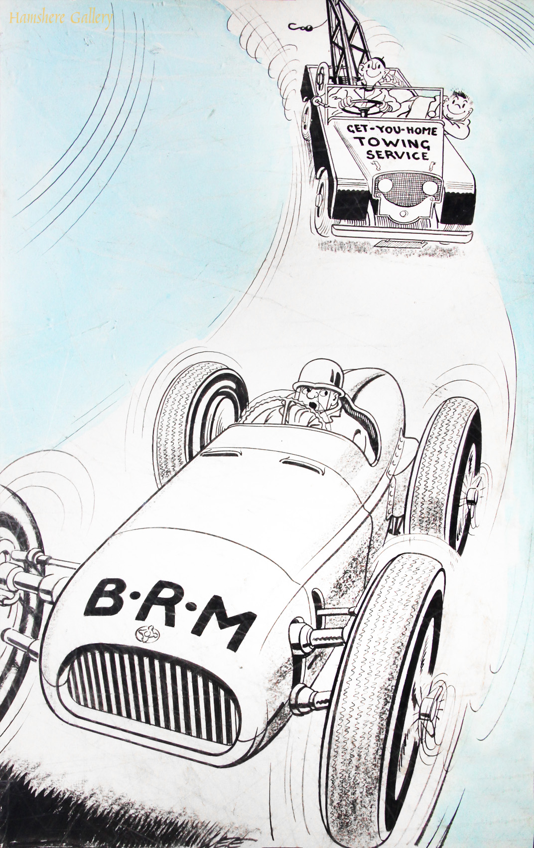 Click to see full size: A 1950�s Motoring / automobile / BRM / Land Rover pen, ink and water wash cartoon drawing by Joseph (Joe) Lee (English, 1919-1975).