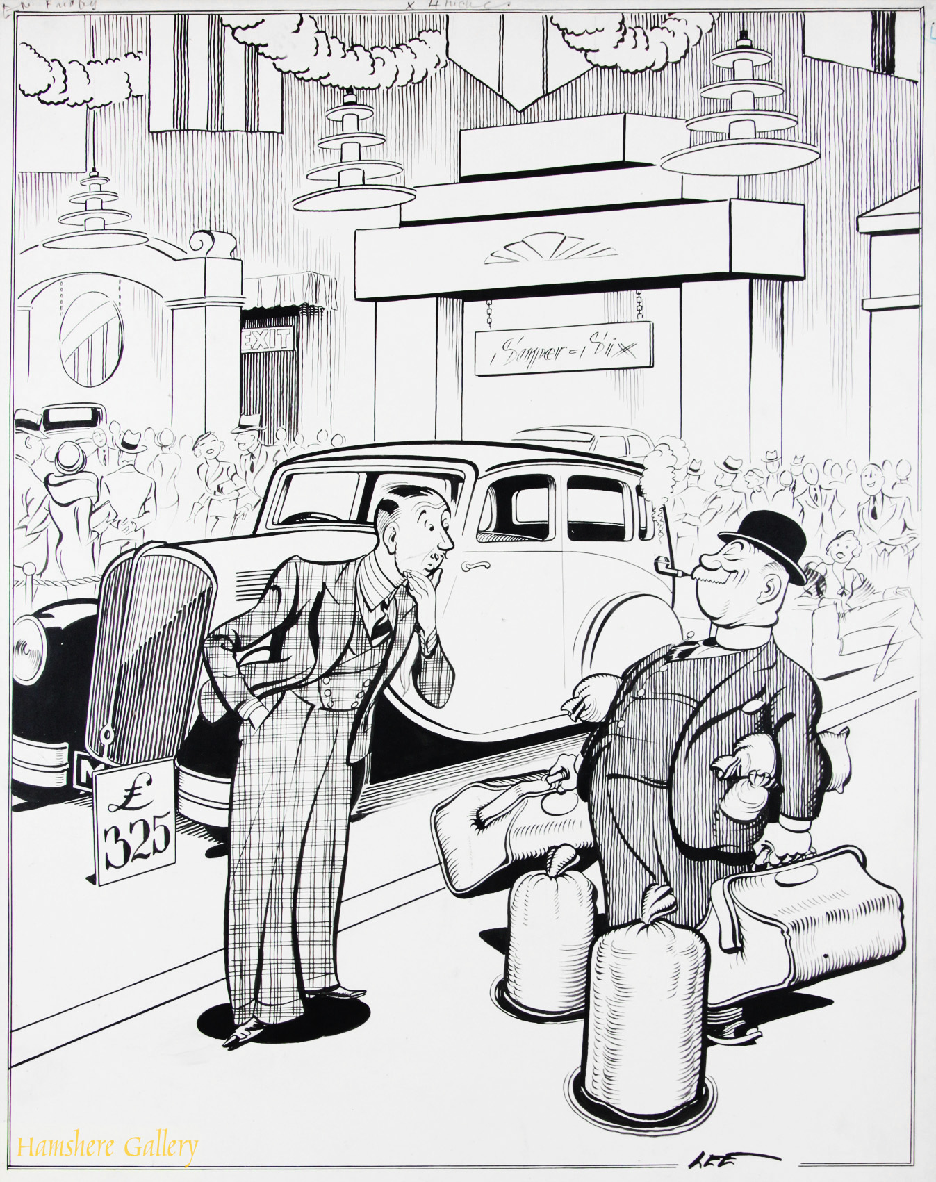 Click to see full size: A 1930�s Motoring / automobile / Motor Show pen and ink cartoon drawing by Joseph (Joe) Lee (English, 1919-1975) for The London Evening News.