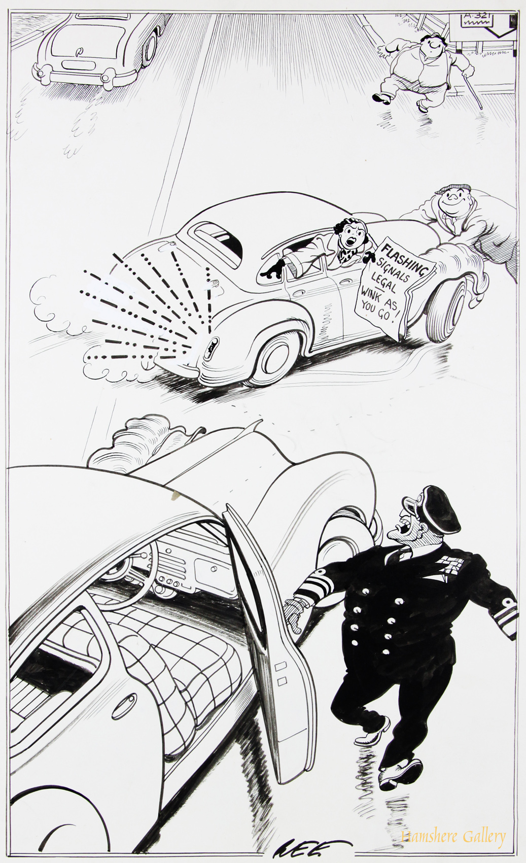 Click to see full size: A 1950�s Motoring / automobile pen and ink cartoon drawing by Joseph (Joe) Lee (English, 1919-1975).