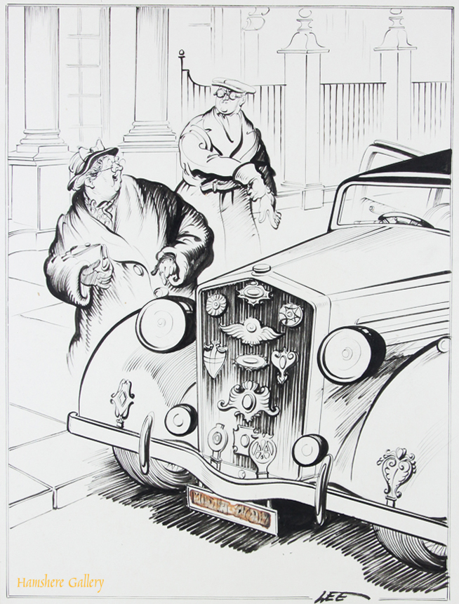 Click to see full size: A 1930�s Motoring / automobile pen and ink cartoon drawing by Joseph (Joe) Lee (English, 1919-1975) for The London Evening News.