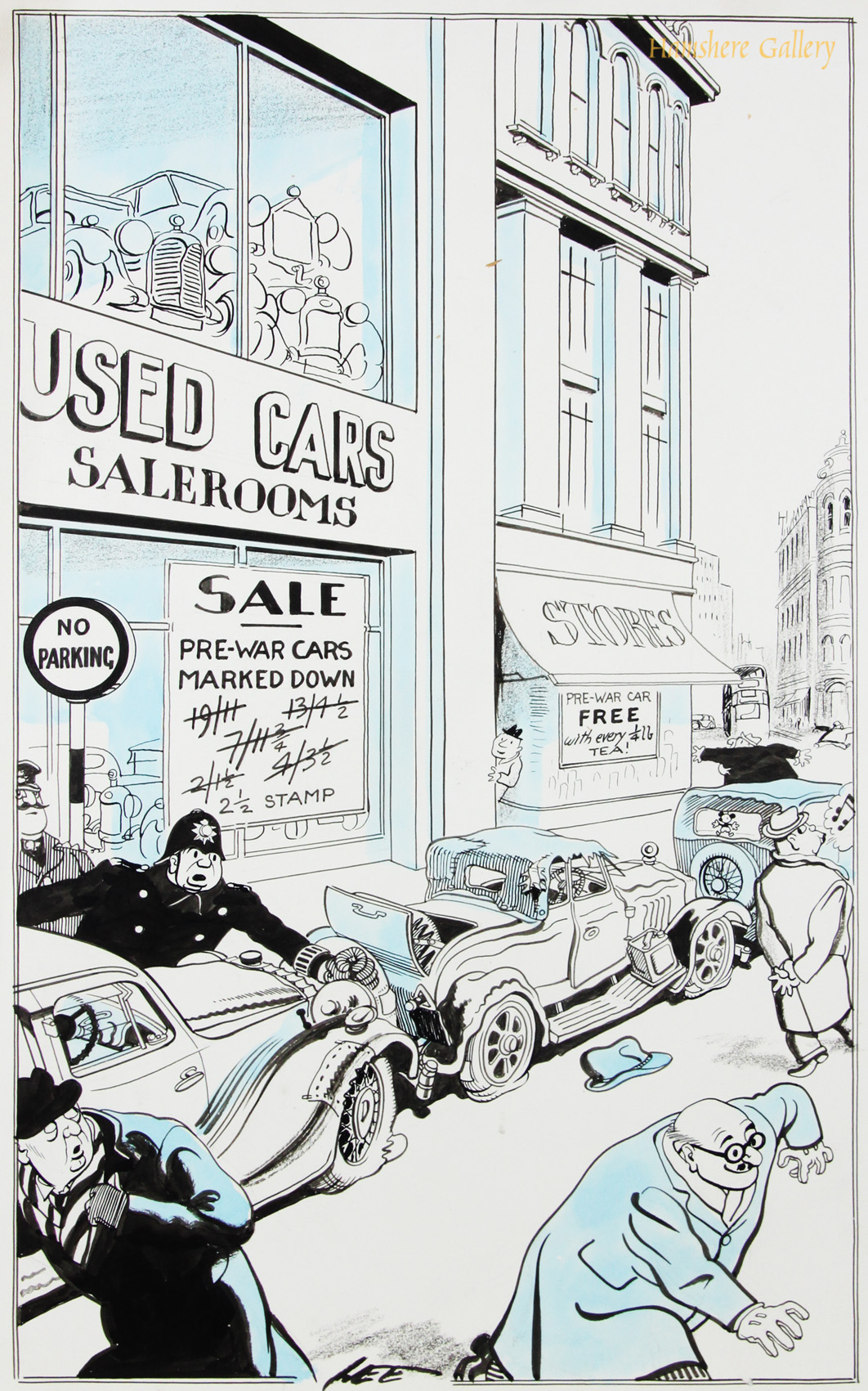 Click to see full size:    A 1950�s Motoring / automobile / �used car saleroom� pen and ink with blue water wash cartoon drawing by Joseph (Joe) Lee (English, 1919-1975) for The London Evening News.