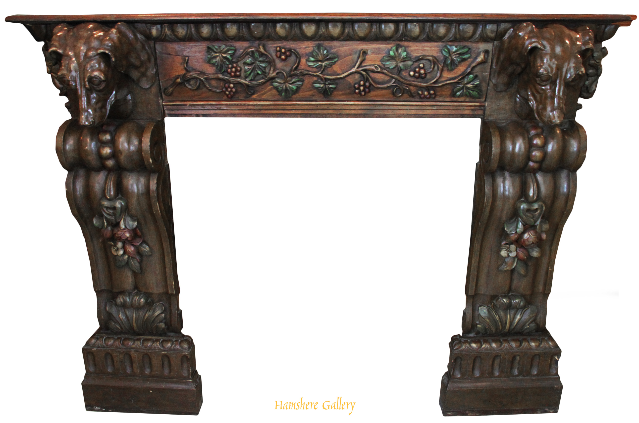 Click to see full size: A rare and fine French early 20th century white oak carved Setter fireplace / chimneypiece / mantelpiece - A rare and fine French early 20th century white oak carved Setter fireplace / chimneypiece / mantelpiece