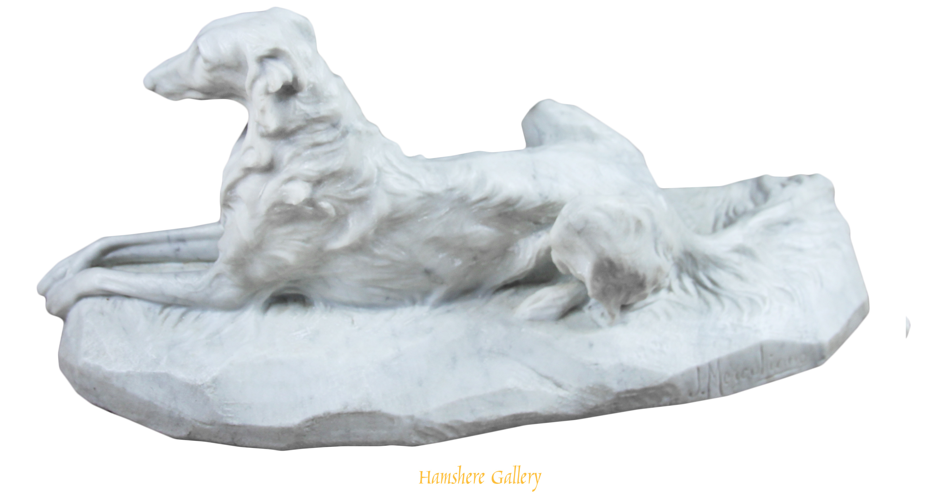 Click for larger image:    A marble sculpture of a Borzoi by Giacomo Merculiano (Italian, 1859-1935) - <br />