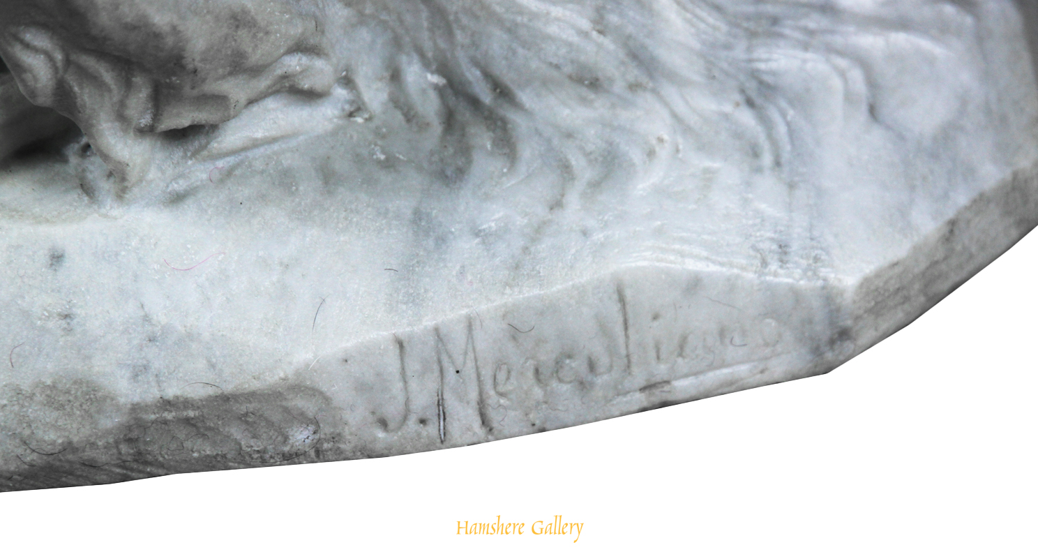 Click to see full size:    A marble sculpture of a Borzoi by Giacomo Merculiano (Italian, 1859-1935)- <br />
