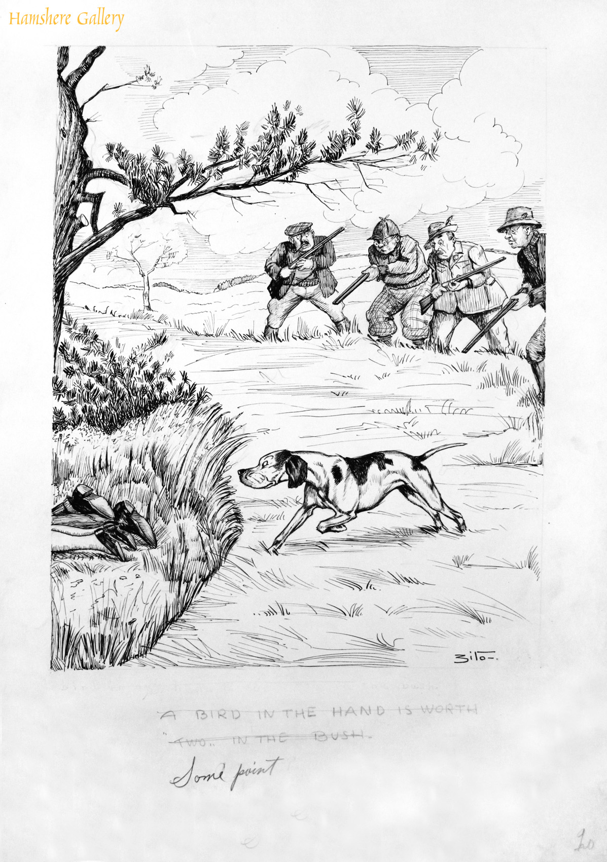 Click to see full size: A circa 1930�s pen and ink humorous canine dog / Pointer hunting cartoon drawing by Vincenzo (Vincent) Maria Zito (European/American 1900-1966)