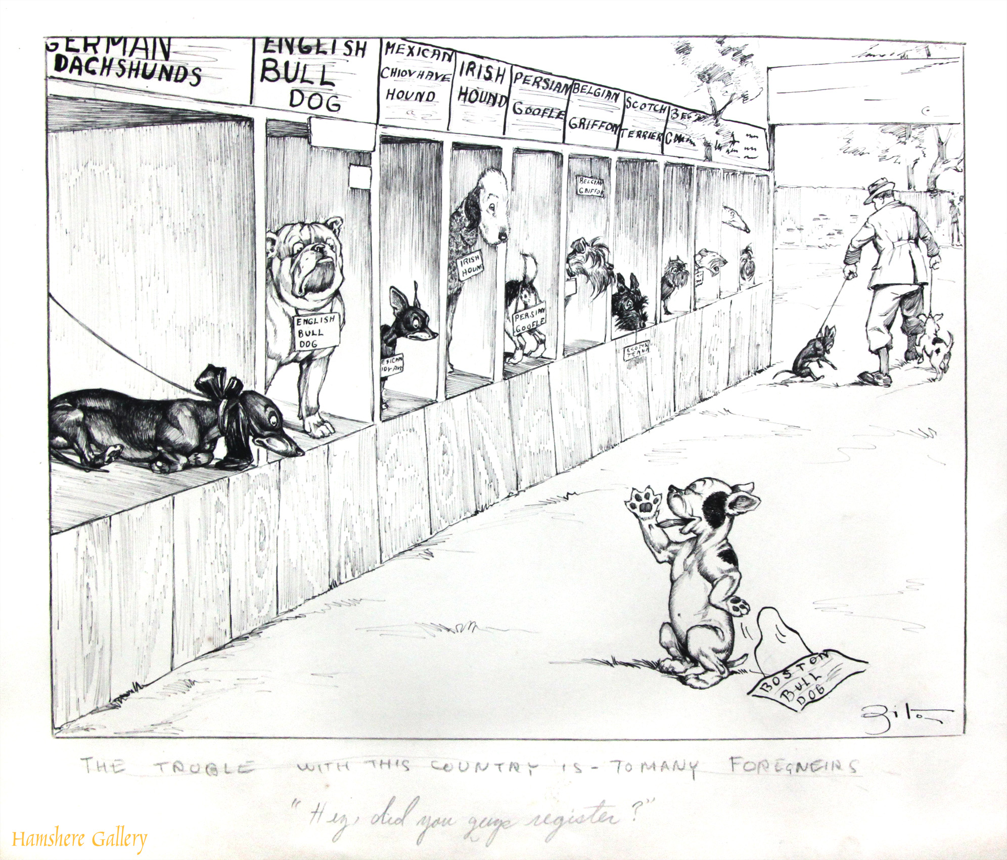 Click to see full size: A circa 1930�s pen and ink humorous canine dog / dog show / Boston / Dachshund / Bulldog / Scottish Terrier cartoon drawing by Vincenzo (Vincent) Maria Zito (European/American 1900-1966)