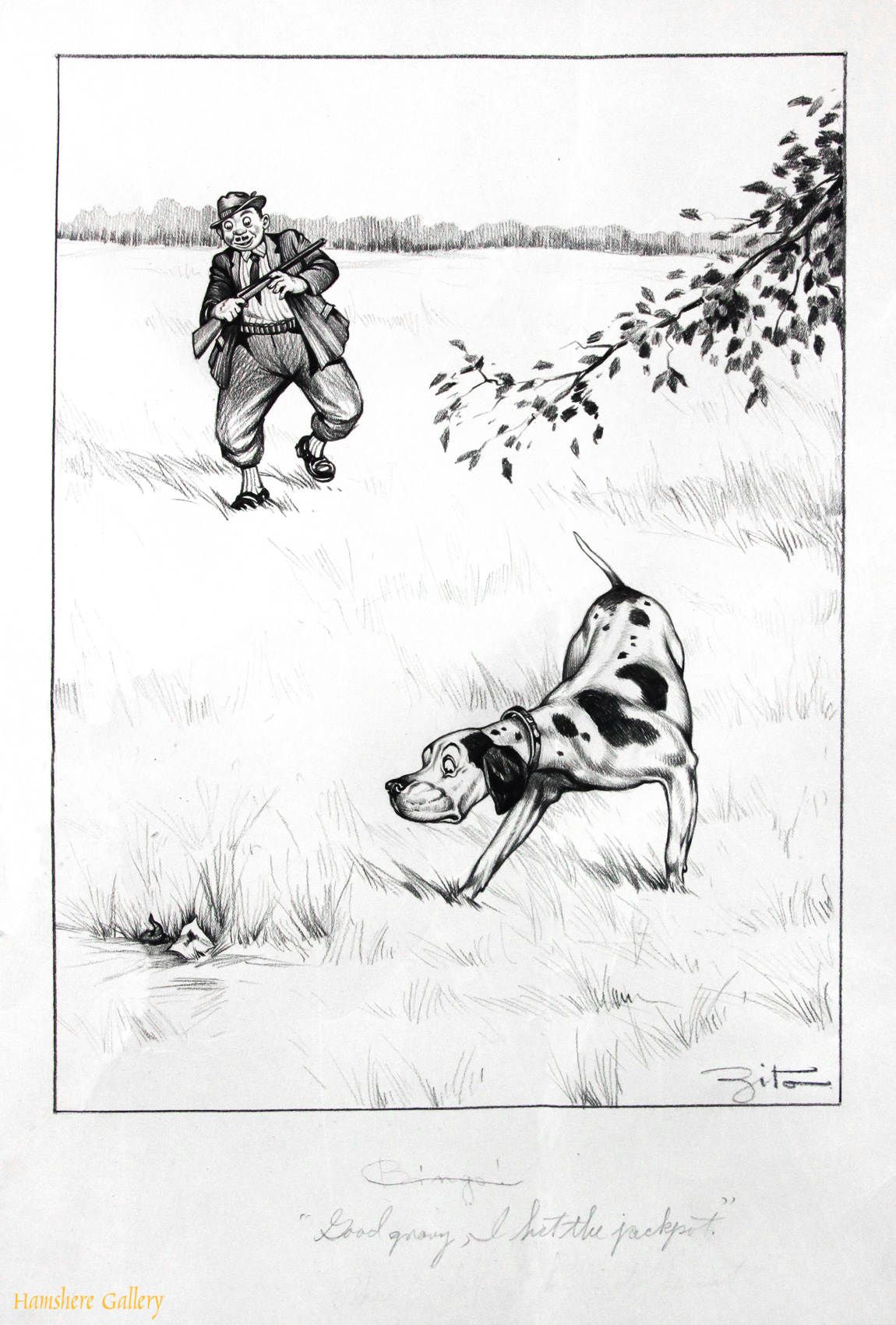 Click to see full size:  A circa 1930�s pencil humorous canine dog / Pointer hunting cartoon drawing by Vincenzo (Vincent) Maria Zito (European/American 1900-1966)