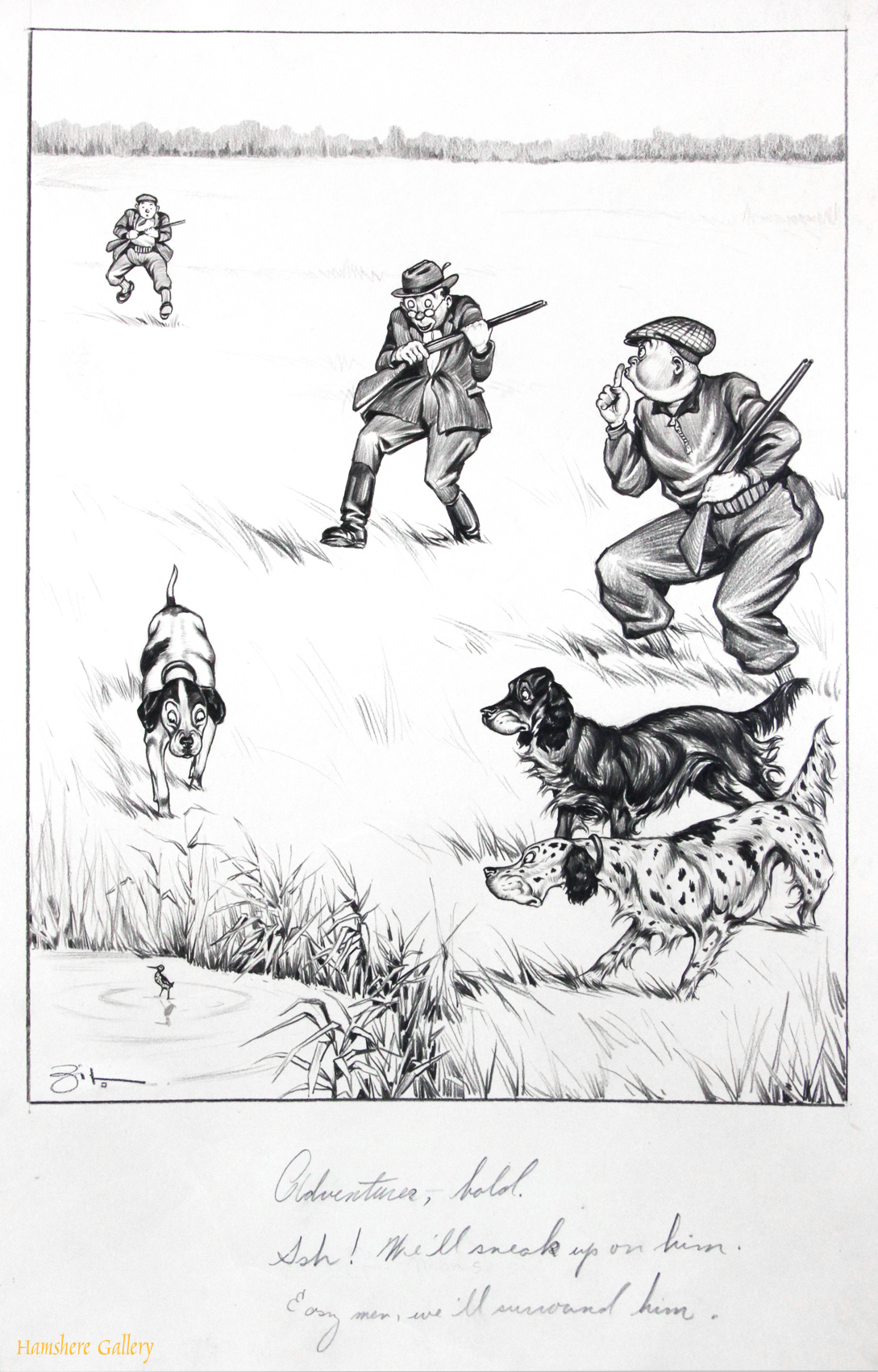 Click to see full size: A circa 1930�s pen and ink humorous canine dog / Gordon Setter / English Setter / Pointer hunting gundog / bird dog cartoon drawing by Vincenzo (Vincent) Maria Zito (European/American 1900-1966)