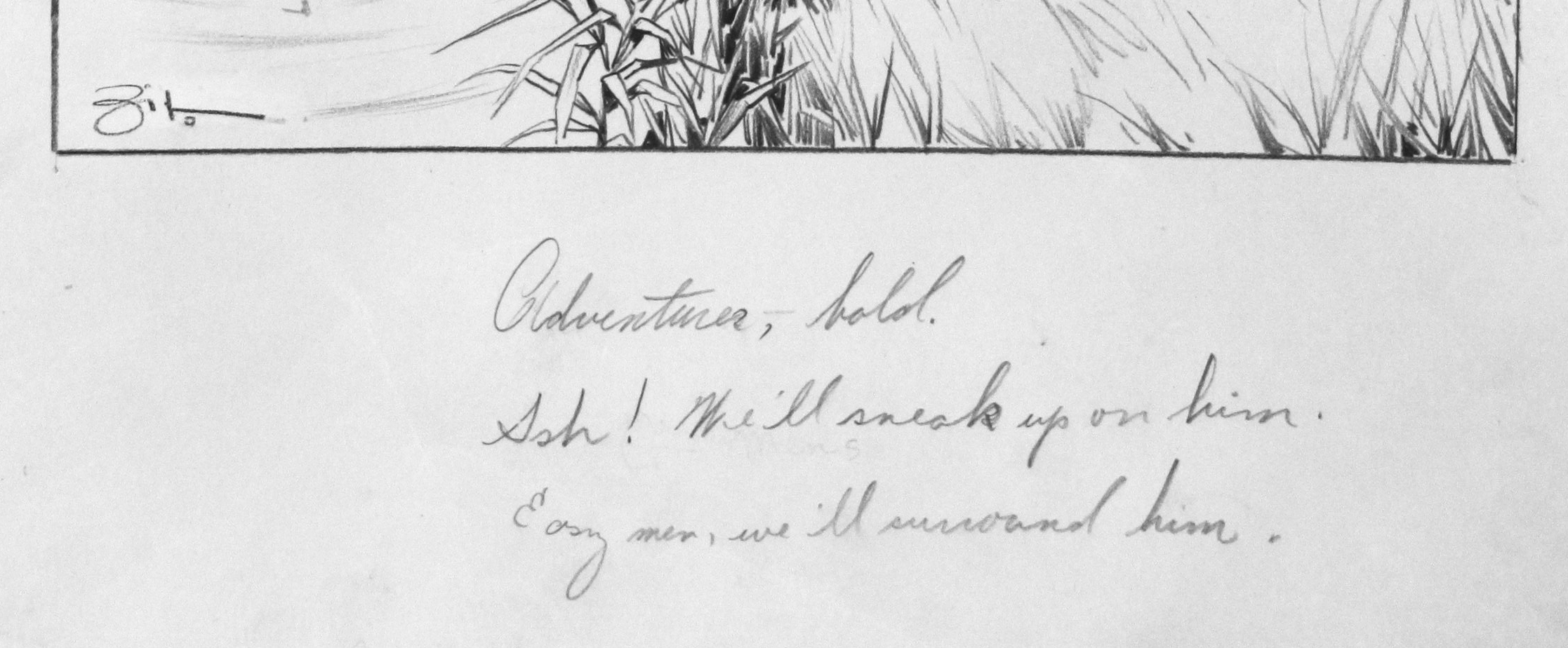 Click to see full size: A circa 1930�s pen and ink humorous canine dog / Gordon Setter / English Setter / Pointer hunting gundog / bird dog cartoon drawing by Vincenzo (Vincent) Maria Zito (European/American 1900-1966)- A circa 1930�s pen and ink humorous canine dog / Gordon Setter / English Setter / Pointer hunting gundog / bird dog cartoon drawing by Vincenzo (Vincent) Maria Zito (European/American 1900-1966)
