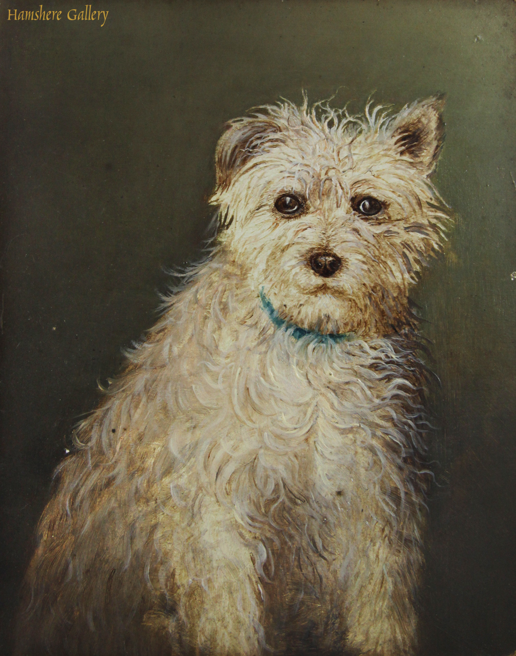Click to see full size: An oil on Rowney board of a seated Norfolk Terrier type