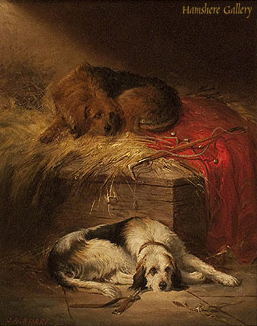 Click to see full size: Otterhound oil by Joseph Henry Sharp  (American  1859-1953) STOLEN