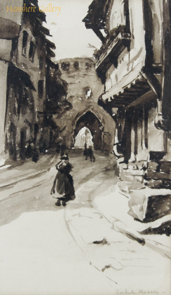 Click to see full size:  Watercolour of a city gate in a Belgium  / Northern France town by Gertrude Massey (English, 1868-1957)