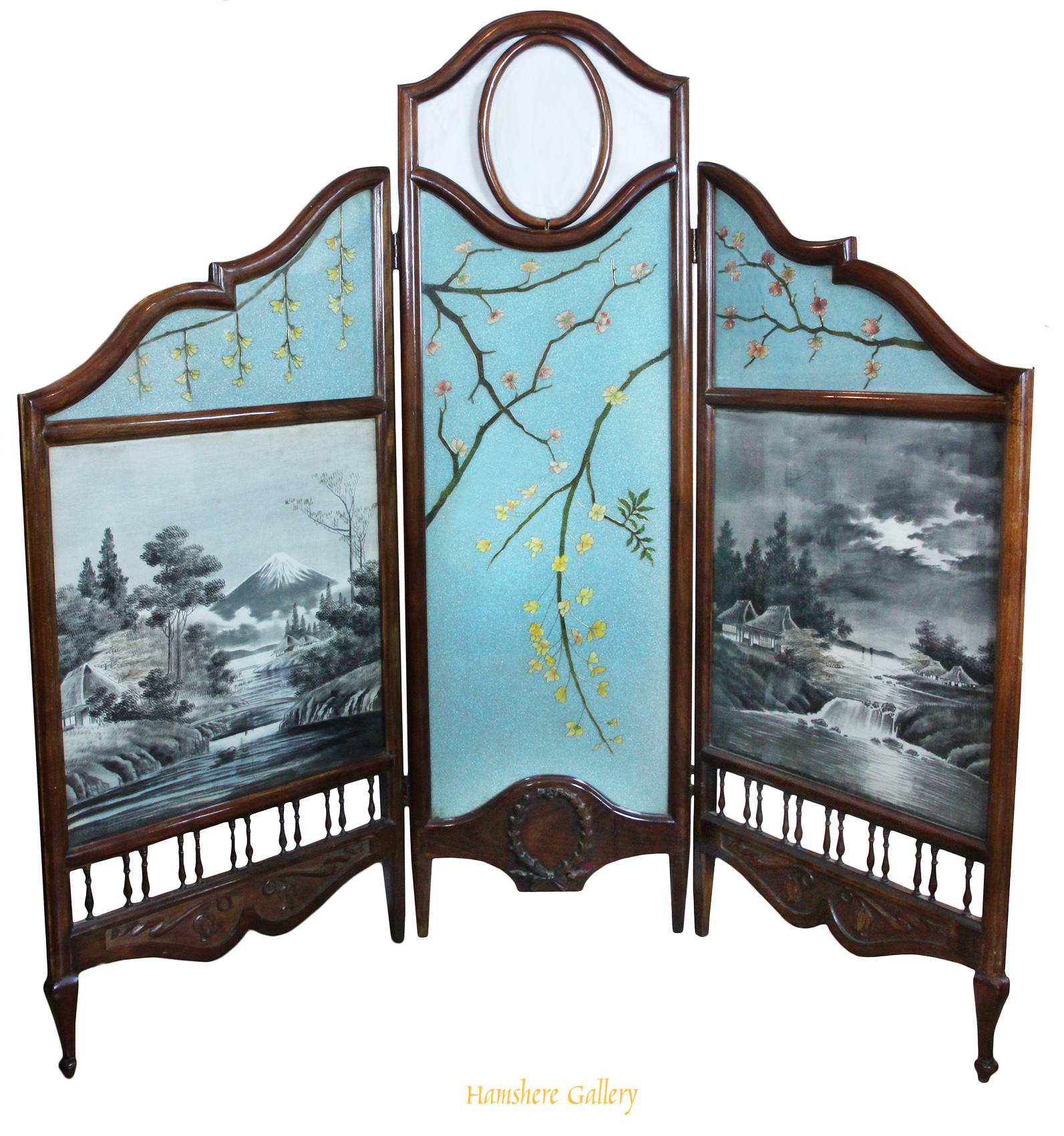 Click to see full size: Late 19th century three-fold screen with Japanese Yuzen Birodo (Yuzen-dyed cut velvet) and Art Nouveau beaded glass panels