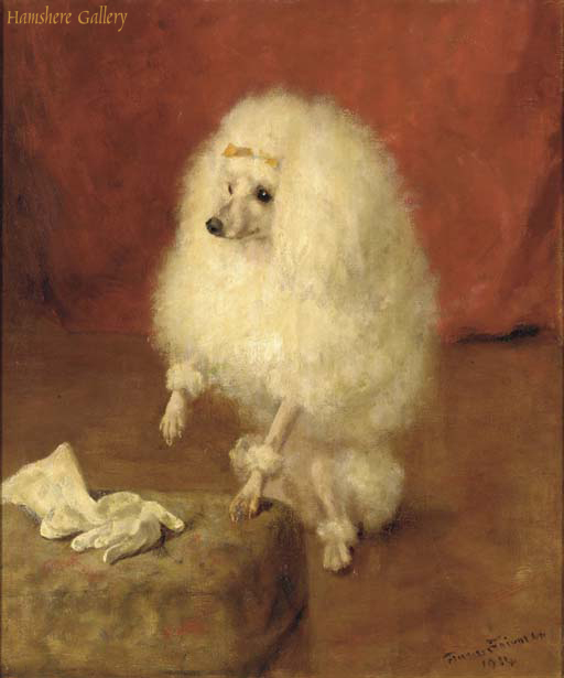 Click to see full size: Oil of a white Poodle by Frances Fairman (English, 1836-1923)