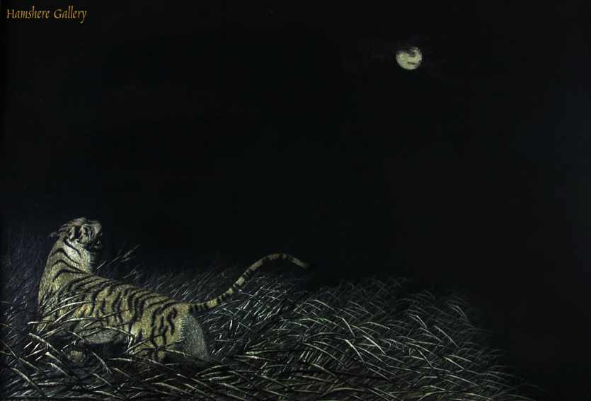 Click to see full size: A Japanese Meiji period silk embroidery / textile of a tiger beneath moonlit grasses