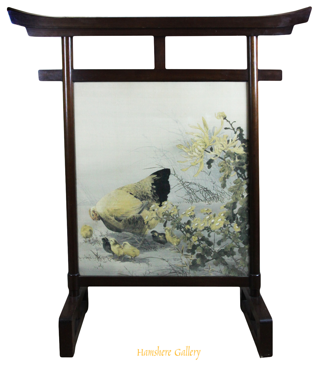 Click to see full size: A Meiji period, Japanese Yuzen Birodo (Yuzen-dyed cut velvet) textile of hen and chickens framed within a fire screen / tsuitate