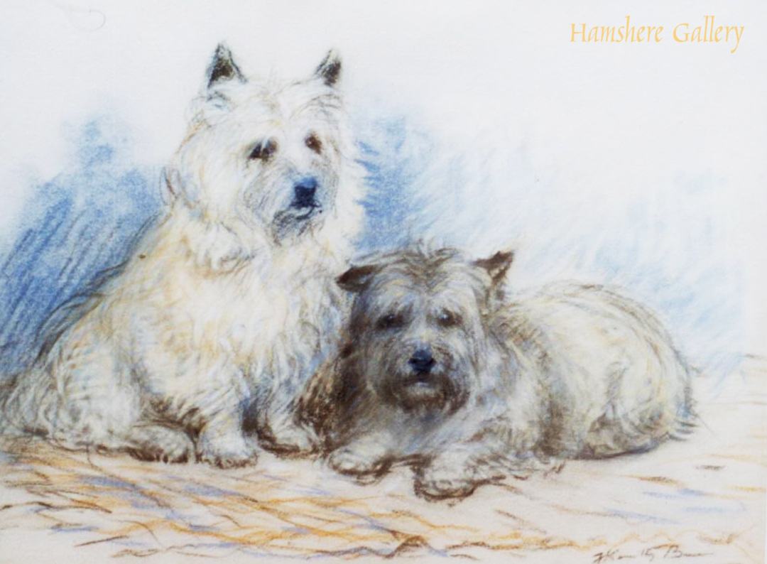 Click to see full size: A pastel of two Cairn Terrier dogs by Kathleen Frances Barker (English, 1901-1969)