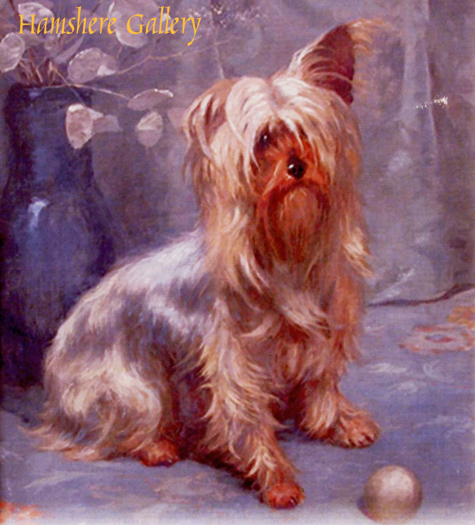Click to see full size: Oil on canvas of a Yorkshire Terrier by Lionel Birch (English, 1858-1930)
