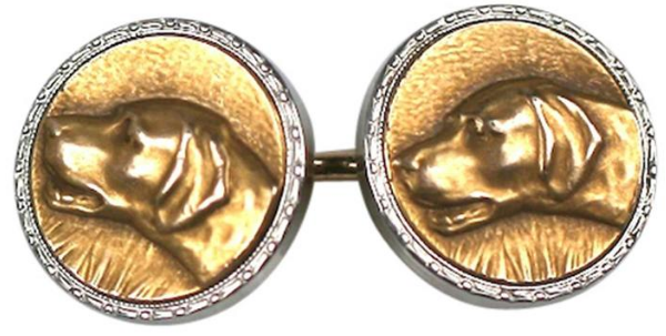 Click to see full size: Gilt 1930's Pointer cufflinks by the New Jersey firm of Krementz & Co