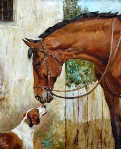 Click to see full size: Oil on canvas of horse / hunter and Foxhound by Wright Barker RBA- Oil on canvas of horse / hunter and Foxhound by Wright Barker RBA