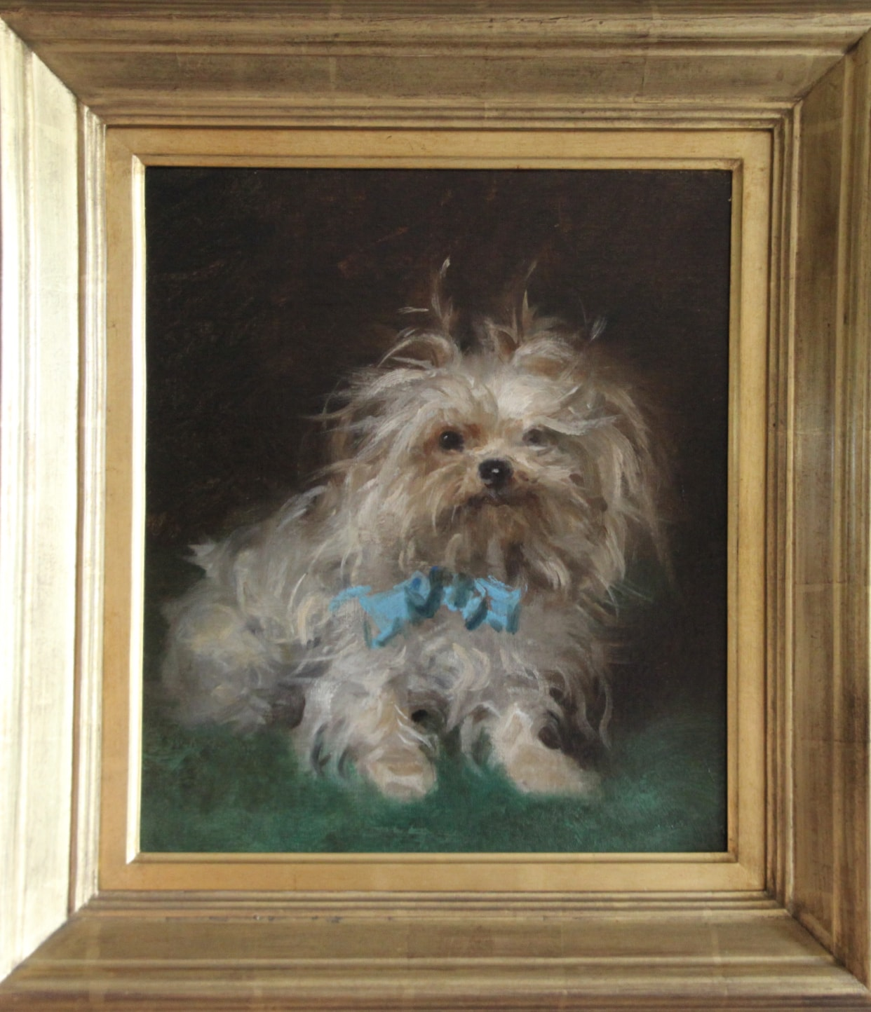 Click to see full size: Late 19th century French oil of a Yorkshire Terrier- Late 19th century French oil on canvas of a seated pampered Yorkshire Terrier wearing a blue satin bow. Unsigned. French, circa 1890.