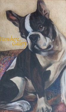 Click to see full size: Art Deco 1926 French Bulldog watercolour by Heinrich Engel (1876-1951)