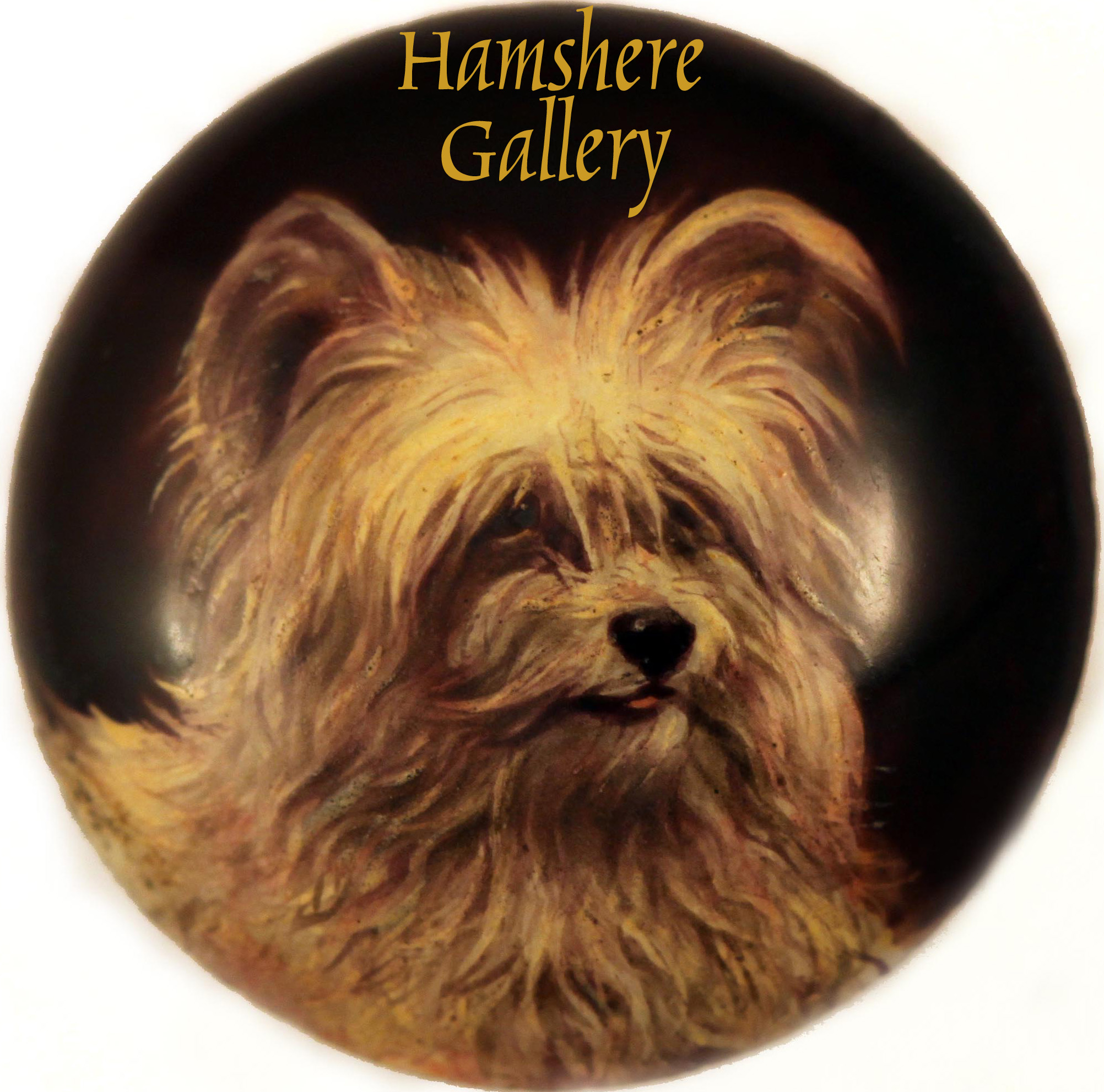 Click to see full size: Miniature in enamel of a Skye Terrier by William Page Simpson fl (English, 1845-1911)