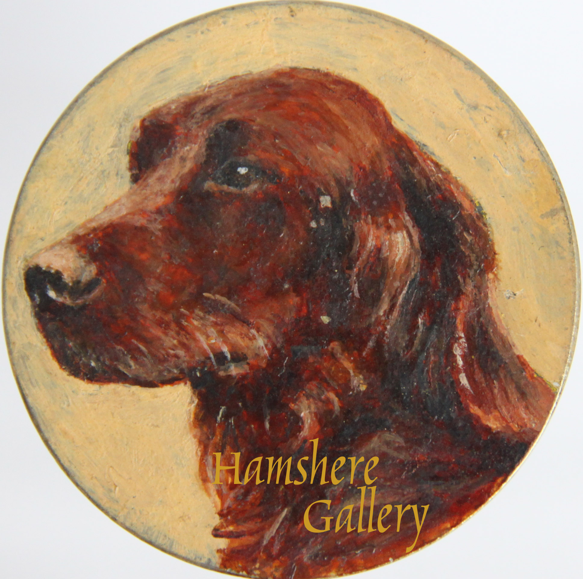 Click to see full size: An Irish Setter miniature in oil brooch by Mrs Ellen Sylvia Shaw (English, 1868-1947)- An Irish Setter miniature in oil brooch by Mrs Ellen Sylvia Shaw (English, 1868-1947)