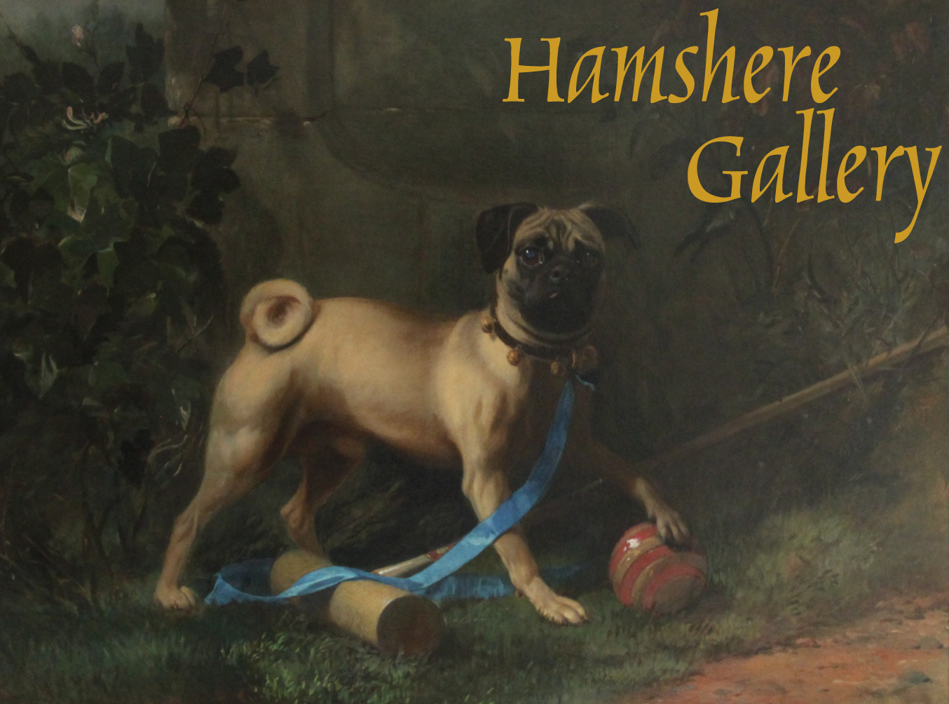 Click to see full size: A 19th century oil on canvas of a Pug,