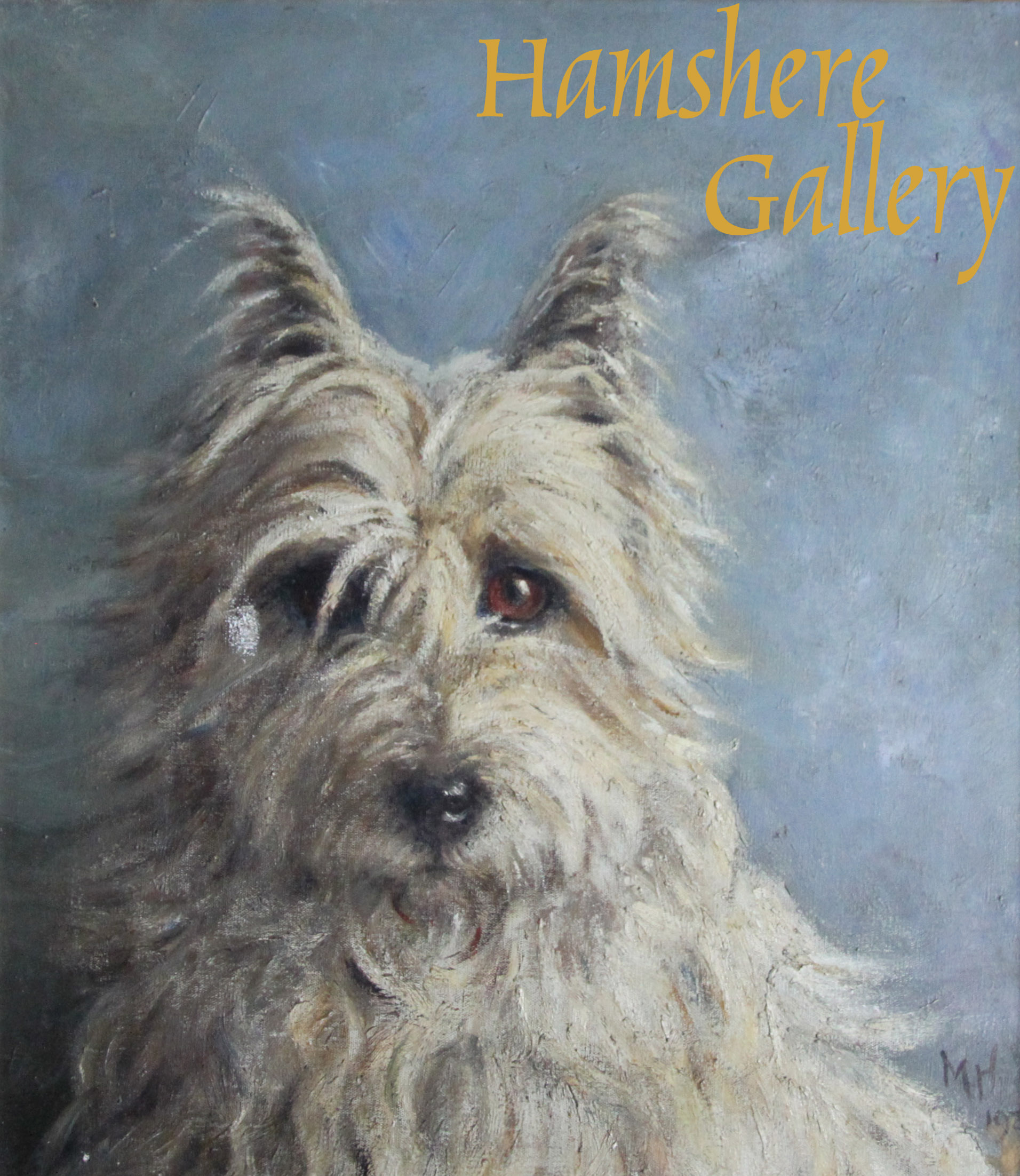 Click to see full size: Oil on canvas of a West Highland Terrier by Miss Mabel Hastings (English, fl 1901-19)