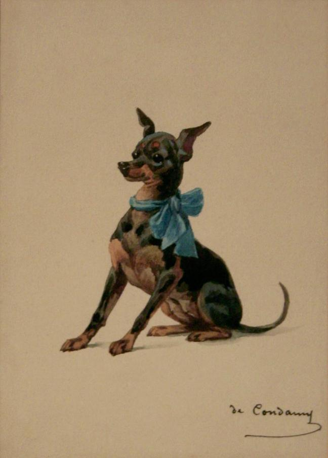 Click to see full size: Manchester Terrier by Charles-Fernand de Condamy (fl 1878 - 1882)
