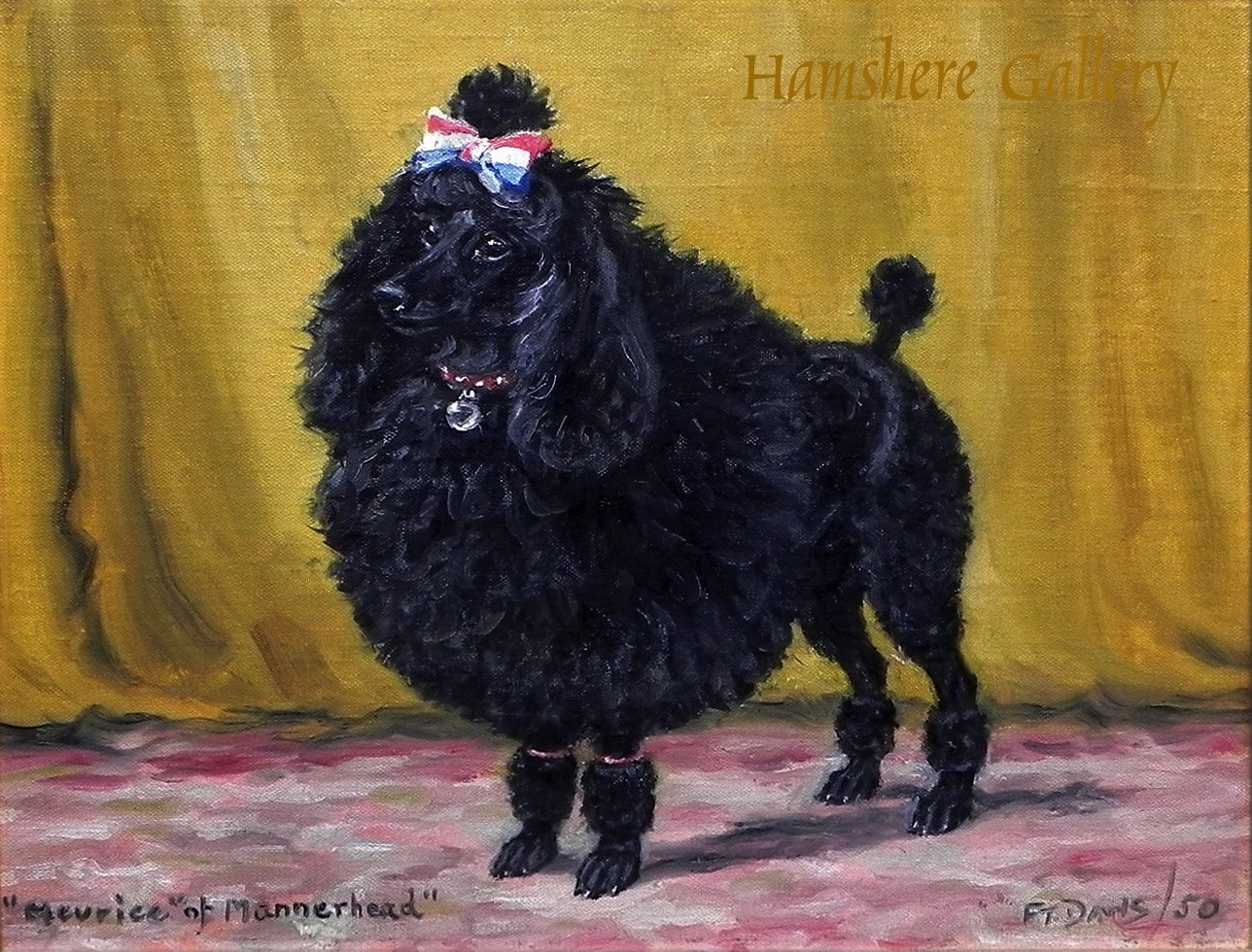 Click to see full size: Oil painting on canvas board of a poodle by Thomas Frederick Daws RA(English , 1878-1956)