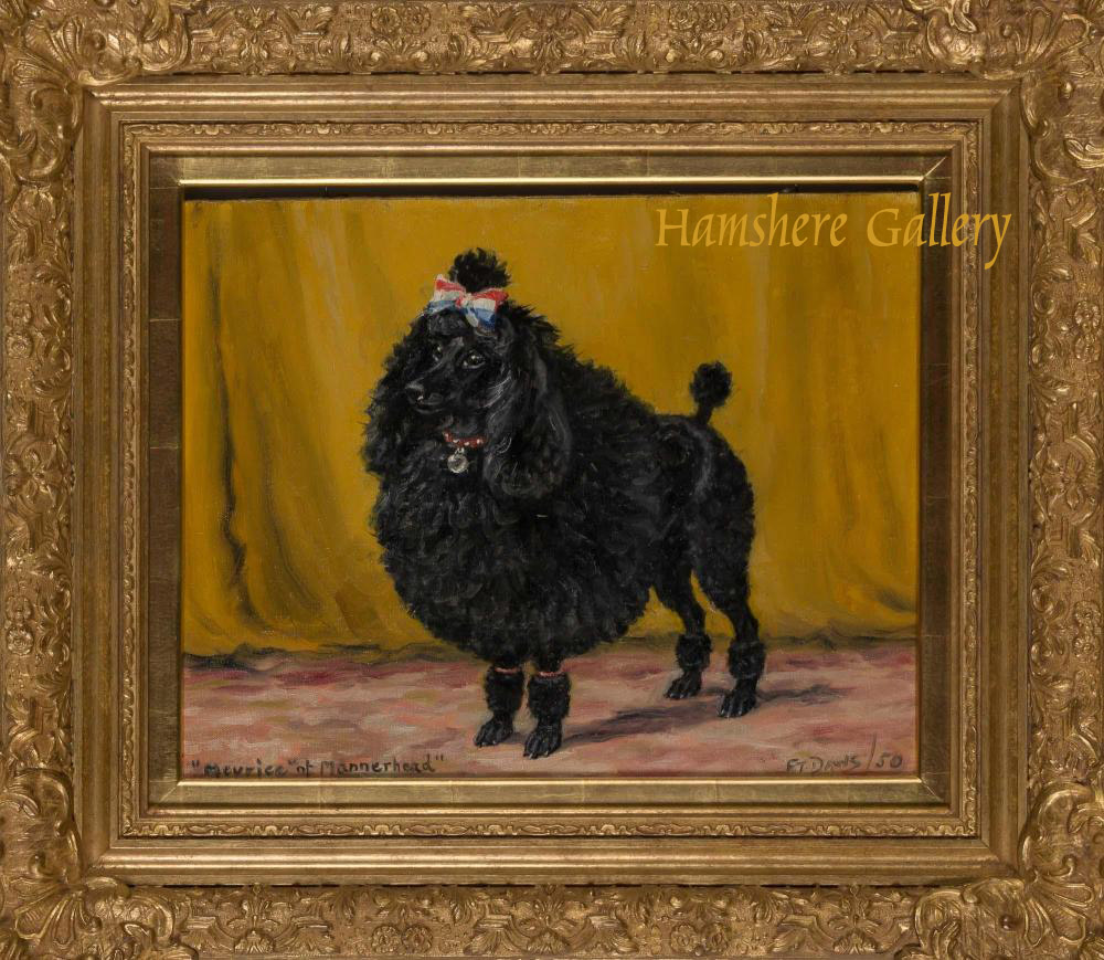 Click for larger image: Oil painting on canvas board of a poodle by Thomas Frederick Daws RA(English , 1878-1956) - Oil painting on canvas board of a poodle by Thomas Frederick Daws RA(English , 1878-1956)