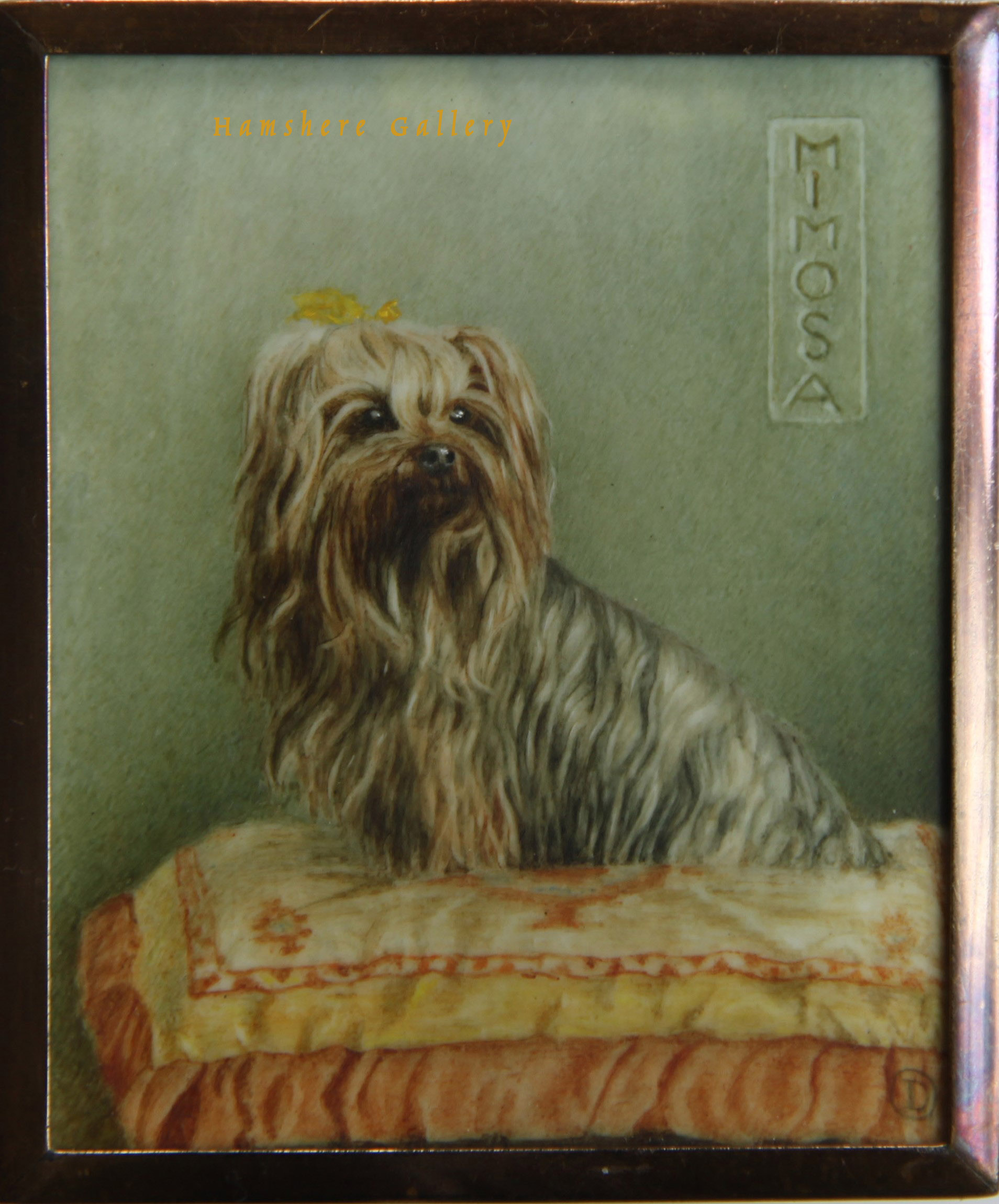 "Click to see full size: The Yorkshire Terrier ""Mimosa"", an ivory miniature by Mrs Dorothy Oliver"